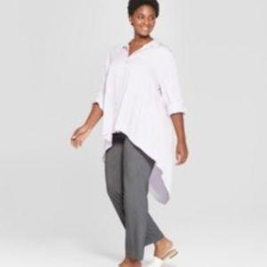 Ava & Viv Plus Size Purple Long Length Button Top